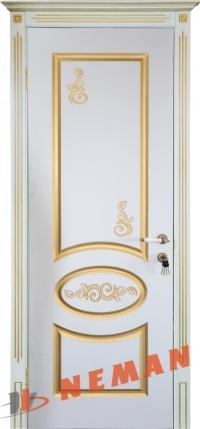 Межкомнатная дверь Версаль ВИП белый супермат, патина золото