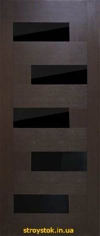 Межкомнатные двери Домино ПВХ с черным стеклом
