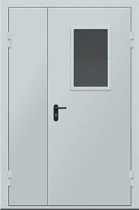 Противопожарные двери EI 30 двустворчатые. Стеклопакет 600х400 мм. Серии Рубеж 3