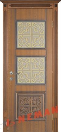 Дверь межкомнатная ВИП Кадис дуб золотой, патина коричневая
