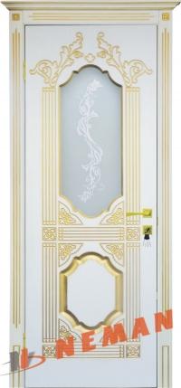 Межкомнатная дверь Корона ВИП белый супермат, патина золото