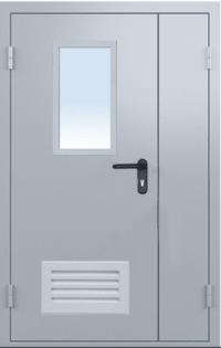 Противопожарная дверь двустворчатая EI 30 2050х1200 + окно 400*300