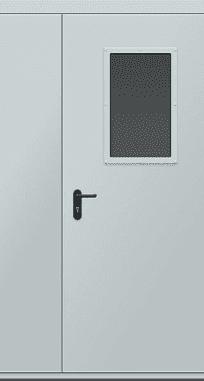 Противопожарные двери EI 30 двустворчатые. Стеклопакет 600х400 мм